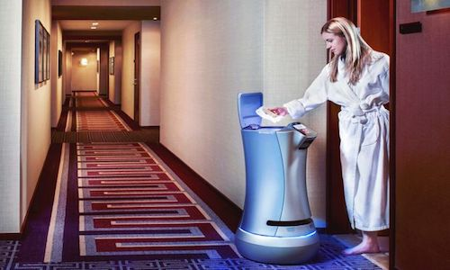 The Relay robot by Savioke Inc. is being used in about 80 hotels worldwide.